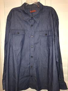 Vertical-Robert-Comstock-Mens-Sz-3XL-Blue-Jean-Snap-Button-Long-Sleeve-Shirt