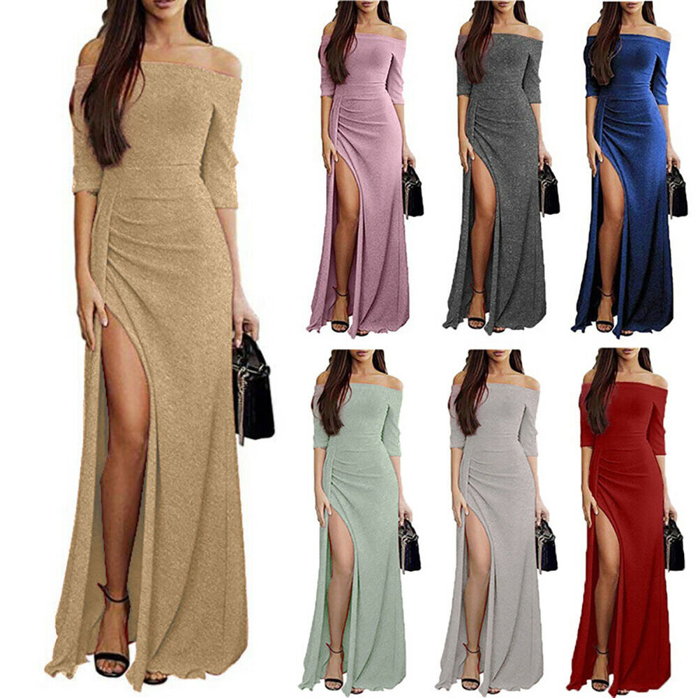 Women Sexy Off Shoulder High Slit Maxi Dress Evening Party Bodycon Gown Rapture Clothing, Shoes & Accessories