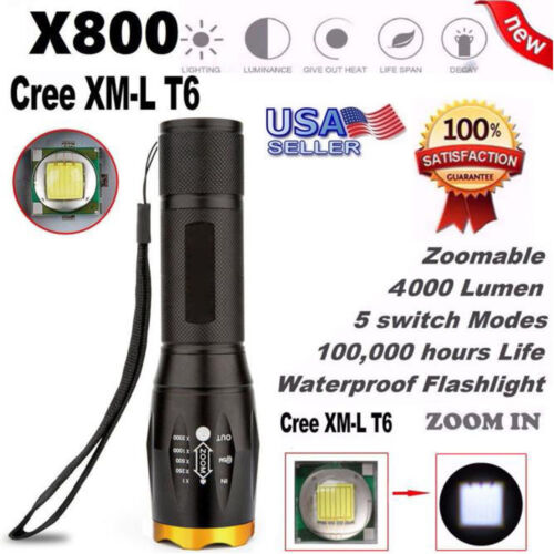4000LM 5 modes G700 X800 LED Tactical Military XM-L T6 Flashlight Torch Zoom USA