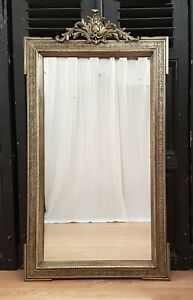 DIVINE-LARGE-ANTIQUE-FRENCH-GILDED-GESSO-MIRROR-C1900