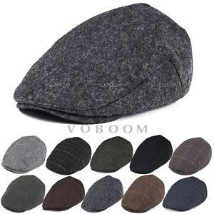 WOOL-BLEND-IVY-CAP-MENS-TWEED-HERRINGBONE-WINTER-HAT-WARM-NEWSBOY-CAP-GATSBY