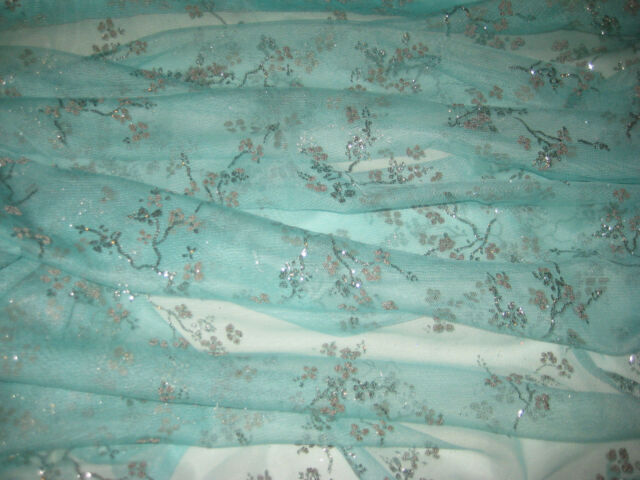 "SEA GREEN WITH ASIAN/ORIENTAL BEAD FOIL TULLE FABRIC 60"" WIDE BY THE YARD"
