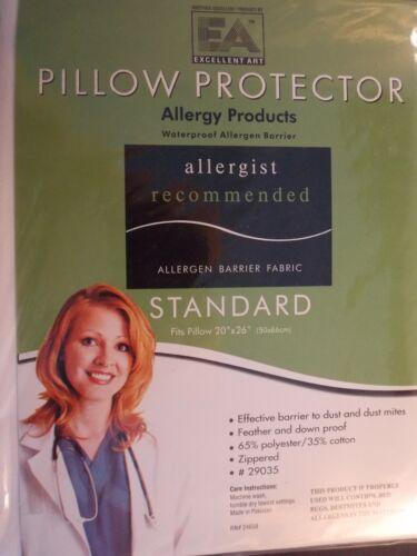 QUEEN-PILLOW PROTECTOR--STOPS BED BUGS DUSTMITES ALLERGEN WATERPROOF-ZIPPERED
