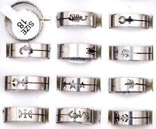30x Fashion Women Silver Stainless Steel Rings Wholesale Bulk Lots Men's Jewelry