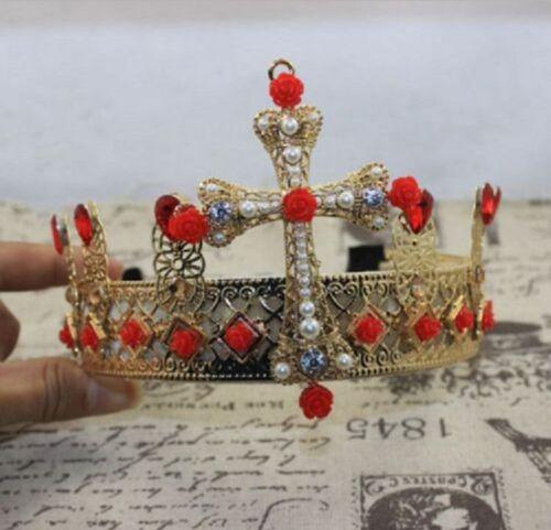Luxury Big Pearl Flower Gem Crown Queen Headband Royal Cosplay Baroque Wedding