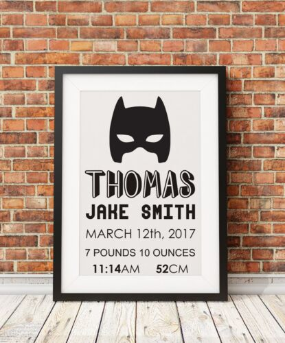 Birth details Christening Gift Personalised Batman Superhero Print A4 PO62