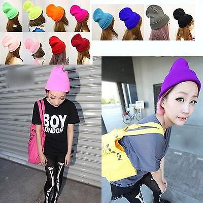 Men & Women Unisex Warm Solid Color Plain Beanie Hip-hop Ski Knit Hats Cap