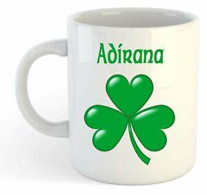 Adirana - Trèfle Nom Personnalisé Tasse - Irlandais st Patrick Cadeau mn4txIjU-09085634-481344784