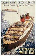 Queen Elizabeth & Queen Mary Cruise Ship Cunard White Star Line, Modern Postcard