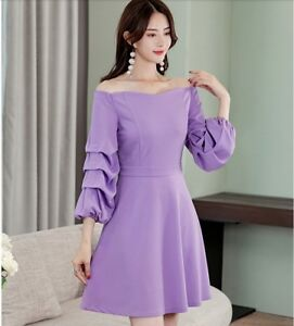 Lavender Dress with Puffy Sleeves