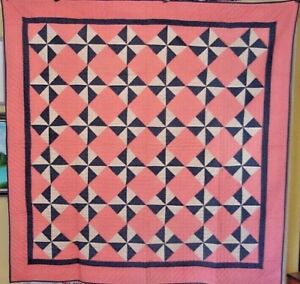 ANTIQUE-PINWHEEL-QUILT-LARGE-SIZE-UNUSED-NEAR-MINT-1880-PINK-CHAMBREY-INDIGOS