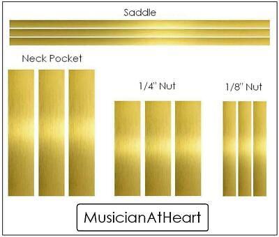 nut saddle GuitarTechs Luthier BRASS SHIM SET full kit 4 all guitars neck