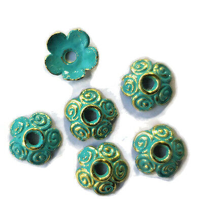 #700ap Patina Bead Caps Deco Flower Floral Gold Unique Artsy 10mm Antiqued Green