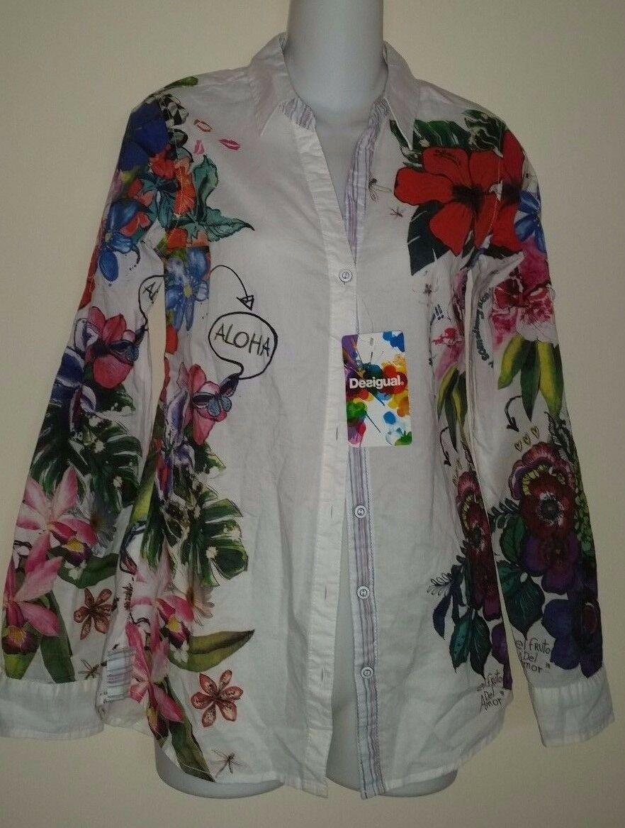 Desigual white cotton colorful floral button shirt long sleeves sz XS