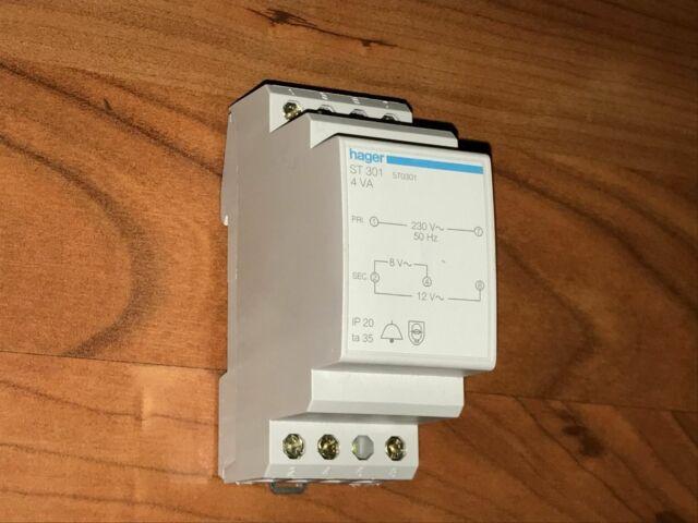 Transformateur de sonnerie 4VA 230-8à12V Hager ST301