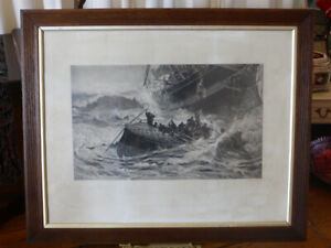 Antique photogravure etching WOMEN & CHILDREN FIRST Shipwreck at Sea by T M Hemy