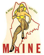 MAINE   Pin-Up Girl    Vintage-1950's Style  Travel Decal/Sticker