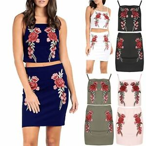 ec0cd4ddc8 Image is loading Womens-Ladies-2-Piece-Cropped-Floral-Rose-Embroidered-