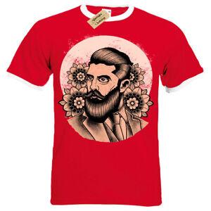 Beard-Pomade-T-Shirt-flowers-Hipster-gentleman-salon-barber-Mens-RInger