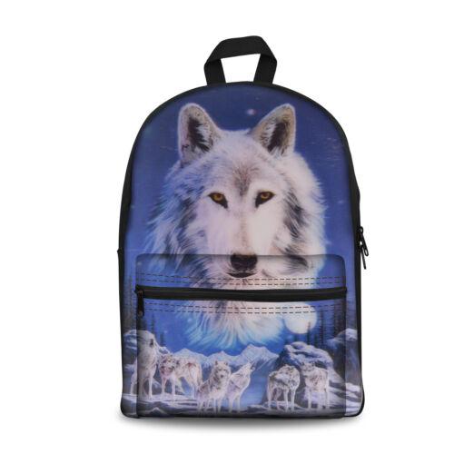 Cool Wolf Boys Girls School Backpacks Student School Back Packs Bookbag Rucksack
