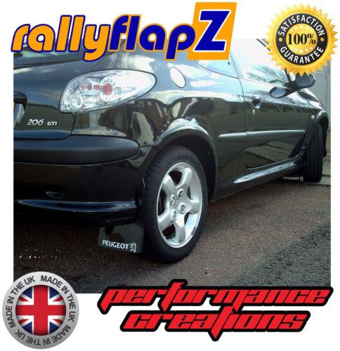 4mm de PVC Rally Estilo mudflaps Peugeot 206 GTI MUD FLAPS Negro Peugeot Logotipo Blanco