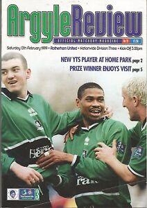 Football-Programme-Plymouth-Argyle-v-Rotherham-United-Div-3-13-2-1999