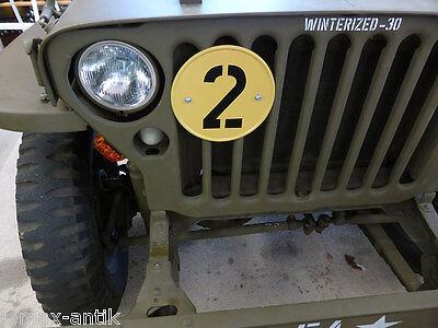 """Willys Jeep MB M201 Ford GPW Gelbe Platte /""""2/""""  mit Halterung für Kühler"""