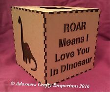 Dinosaur Mdf Wood lamp night Light Box Cube 15cm/150mm Wooden Craft