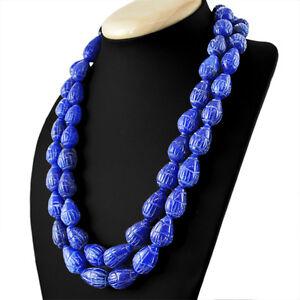 1038.00 Cts Earth Mined Ligne 2 Bleu Saphir Poire Sculpté Perles Collier-afficher Le Titre D'origine