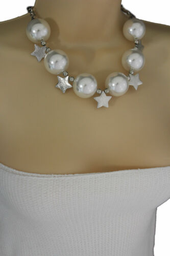 Women Short Cream Necklace Silver Metal Stars Ball Beads Fashion Jewelry Earring