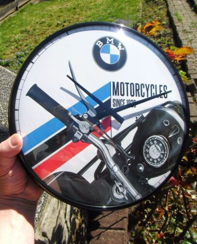 German BMW Motorcycles since 1923 WALL CLOCK Metal //Glas Licensed NEW in Box