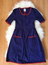Anthropologie Tulle Navy Blue Red Piping Short Sleeve Dress Size Small