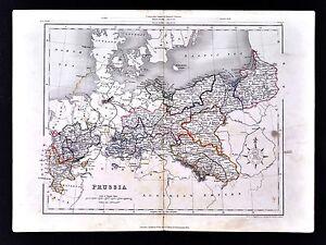 C 1849 Archer Map Prussia Germany Berlin Breslau Westphalia Saxony