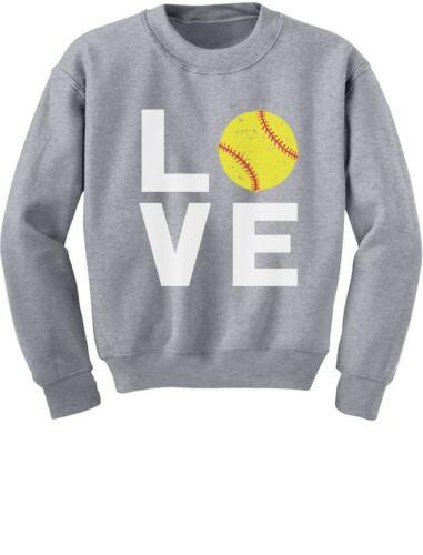 Gift for Softball Fans Youth Kids Sweatshirt Softball Player Love Softball
