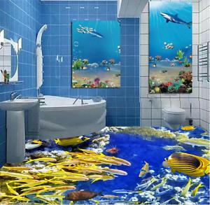 3D oroen Fish Mar 83 Piso impresión de parojo de papel pintado mural 5D AJ Wallpaper Reino Unido Limón