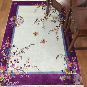 YILONG-4-039-x6-039-Purple-Hand-knotted-Chinese-Art-Deco-Silk-Rug-Butterfly-Carpet