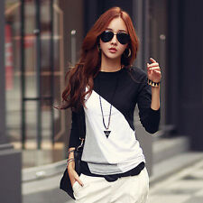 Women Lady Long Sleeve Hit Color Crew Neck T-Shirt Tops Blouse Tee S