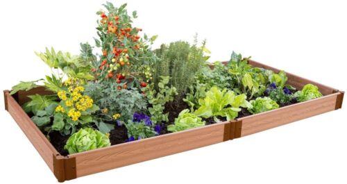 Composite Raised Garden Bed Kit Wood-Grain Finish Easy to Install 4 ft x 8 ft.