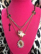 Betsey Johnson Vintage Rose Garden Flying Pig Crystal AB Key Charm Necklace RARE