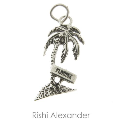 925 Sterling Silver Florida Palm Tree Charm Made in USA