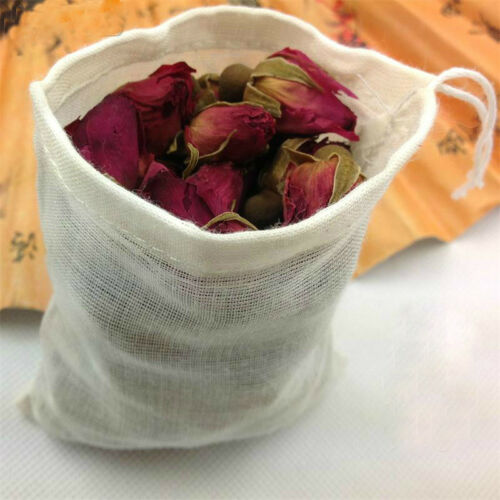 20 LARGE 6x8 Cotton Muslin Drawstring Reusable Bags for Tea Spice Herb Soap