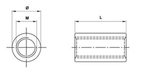 M6x30 V2A Gewindehülse Verbindungsmuffe,Gewindemuffe,LangMutter Distanzmutter VA