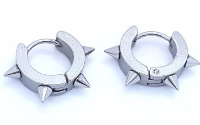 EARRINGS STAINLESS STEEL 316 L HUGGIE HOOP SILVER TONE MENS WOMENS 1 PAIR 02