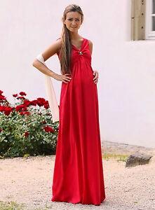 Maxi-Umstandskleid-Abendkleid-Chiffon-rot-34-36-38-40-42-44-46-NEU