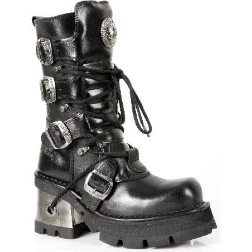 Newrock 373-s3 Damen Schwarz 100% Leder Gothic Punk Emo Rock Biker Stiefel