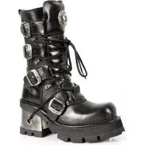 New Rock Newrock M.373-S1 Metallic Black Leather Gothic Punk Unisex Boots