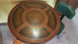 Antique Round Drum Side End Accent Leather Top Table Wood
