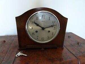 Antique 1930's Bentima Oak Mantel Clock with Key & Pendulum (Perivale Movement)
