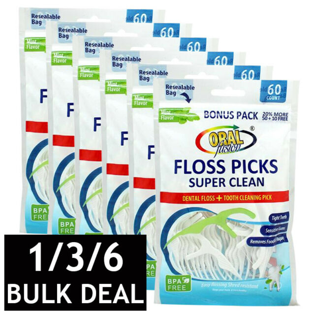 ORAL FUSION FLOSS PICKS TOOTH TEETH FLOSSER GUM CLEANER DENTAL CARE 60 PACK BULK