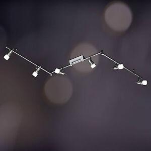 Wofi-Deckenleuchte-Tampa-6-flg-Chrom-Glas-weiss-Spots-verstellbar-Halogen-Lampe